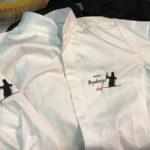 レストランシェフの服にイラスト刺繍しました。&空手帯の刺繍も。