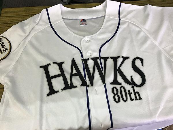 Hawksユニフォームに刺繍