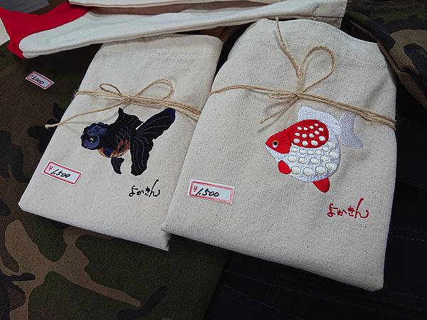 金魚刺繍トートバッグ