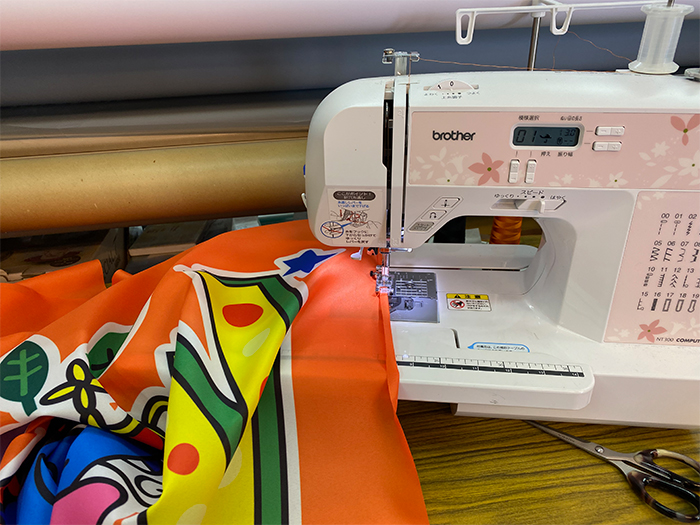 応援旗縫製